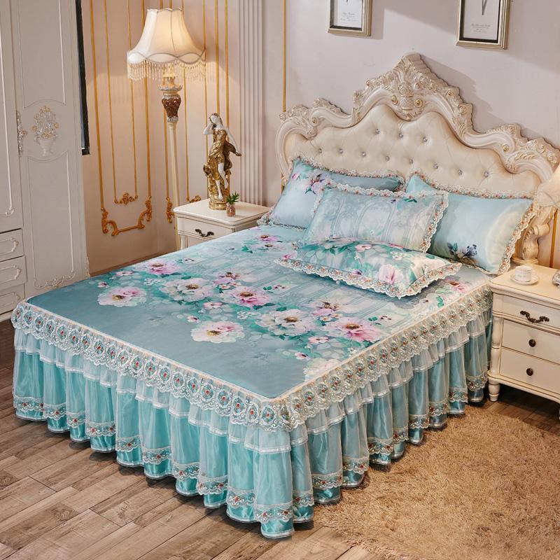 冰丝床裙凉席三件套1.8m床可水洗折叠床罩夏凉席机洗床套空调软席
