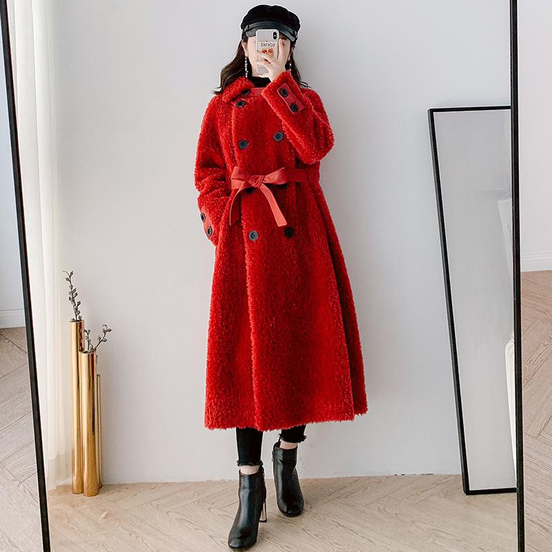Granulated cashmere winter fur coat womens middle long 2020 new waist over knee lamb shearing fur fur one coat