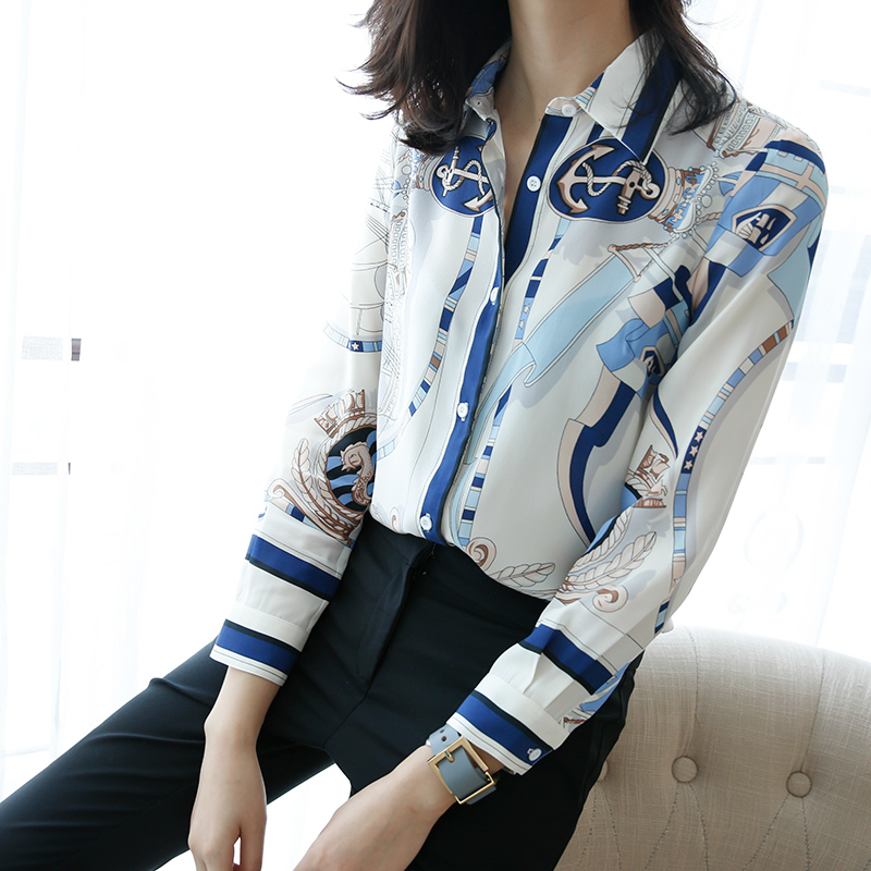 Spring and summer womens fashion printing 100% Silk mulberry silk loose thin long sleeve Lapel shirt