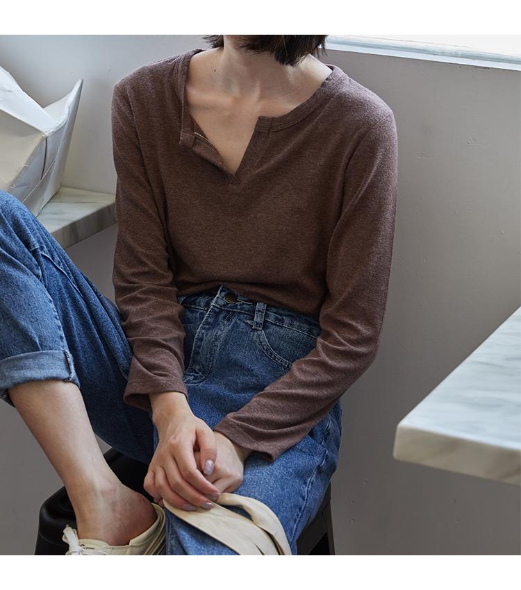 韩国2019新款韩版长袖纯色打底衫体恤V领内搭T恤女心机上衣
