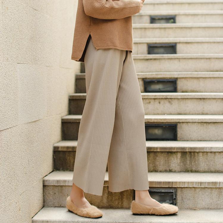 1418A实拍好品质厚实坑条显瘦高腰大长腿针织九分阔腿裤