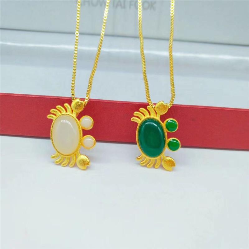 越南沙金首饰 黄铜镀金饰品 宝石螃蟹吊坠 女士项坠配饰 礼物