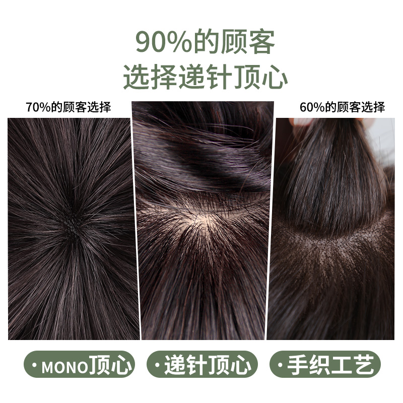 Wig, short hair, real hair, middle-aged and old mother, short curly hair, real hair, natural full head wig set