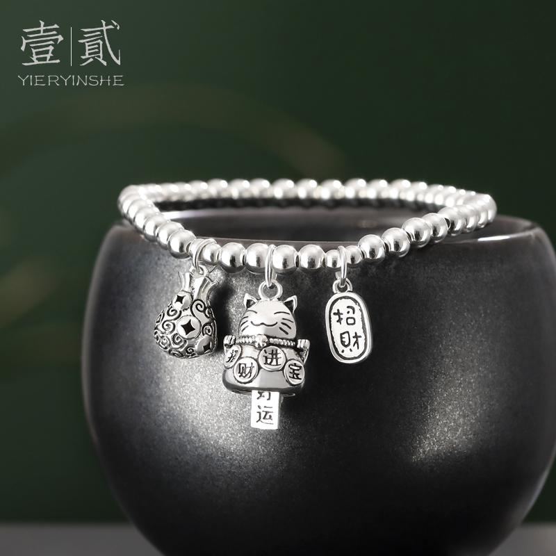 纯银招财猫咪手链女转运银饰手串银珠手链串珠小珠子礼物《随行》