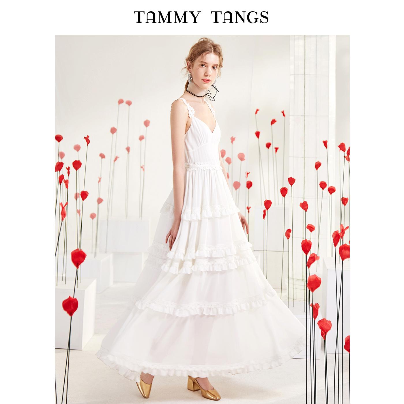 糖力 夏装新款白色欧美蕾丝花边V领吊带连衣裙木耳边雪纺长裙女