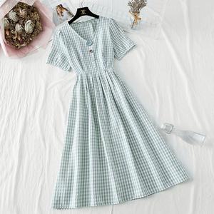 小个子连衣裙2020新款夏季女士复古棉麻仙女超仙森系甜美系带收腰