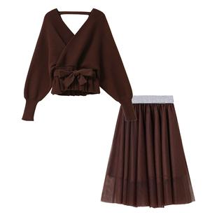 氣質時尚高冷御姐風套裝裙子兩件套洋氣毛衣網紗連衣裙女秋冬季潮