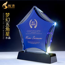 Crystal trophy custom creative five-pointed star licensing licensing custom lettering business staff competition souvenirs
