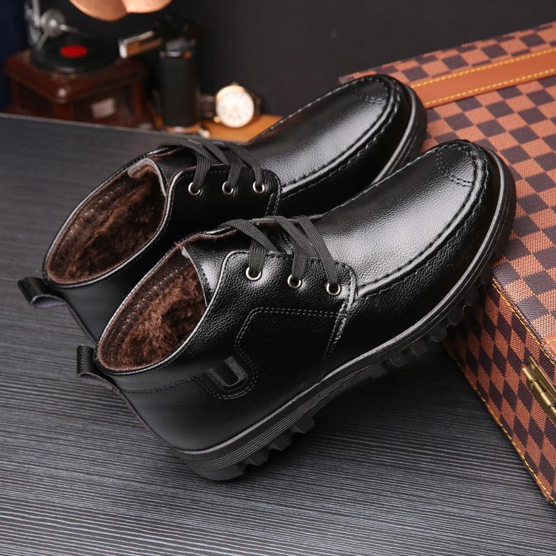 新款男士棉鞋男加绒保暖冬鞋中老年人棉皮鞋防滑厚底棉鞋防水2019