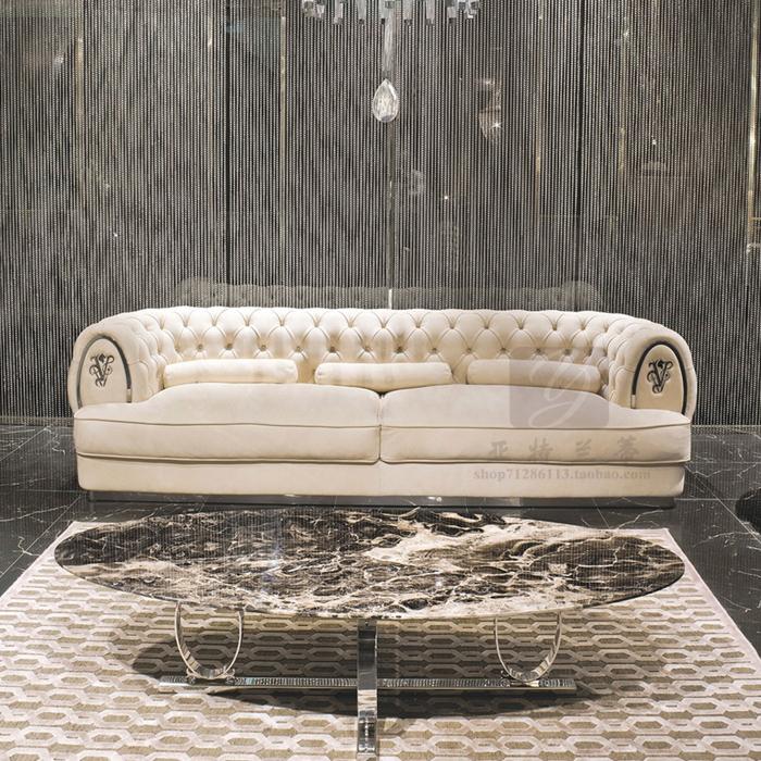 现代轻奢三人位全真皮拉扣软包沙发 简约懒人别墅大户型客厅家具