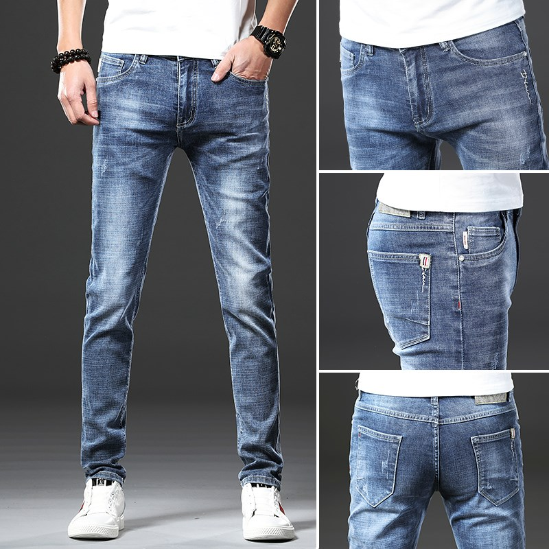 限时2件3折修身款土牛仔裤。男男裤夏季薄款休闲夏裤宽松裤孑浅色夏装牛仔裤