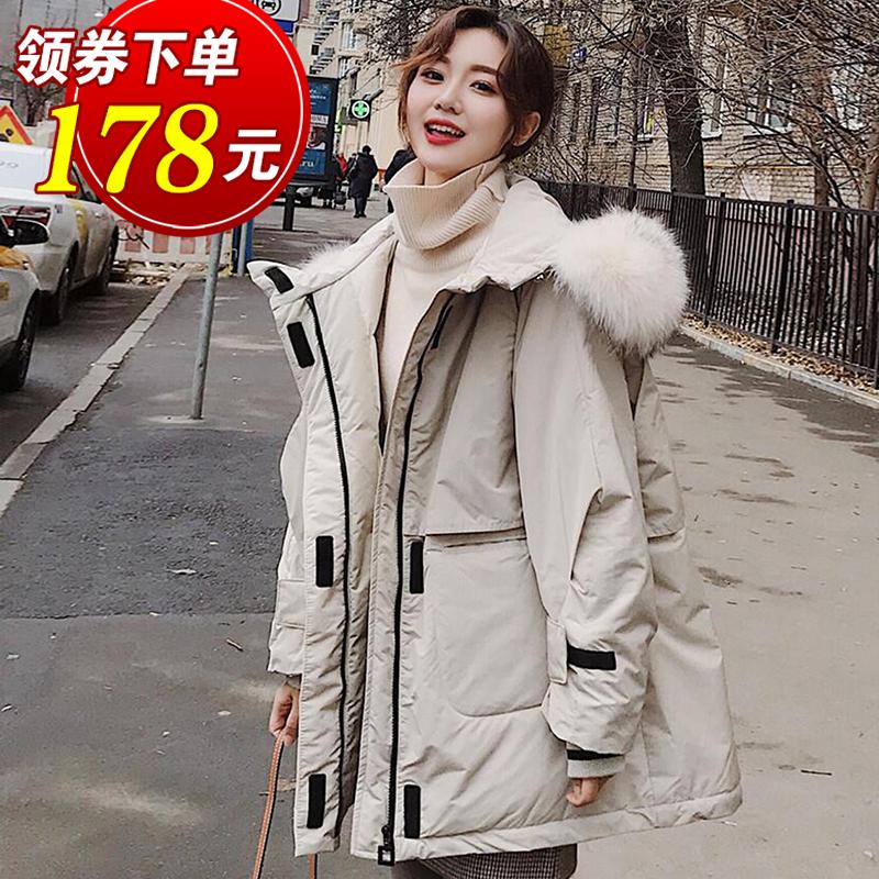 2019新款韩国东大门宽松时尚大毛领工装羽绒服女中长款欧洲站特价