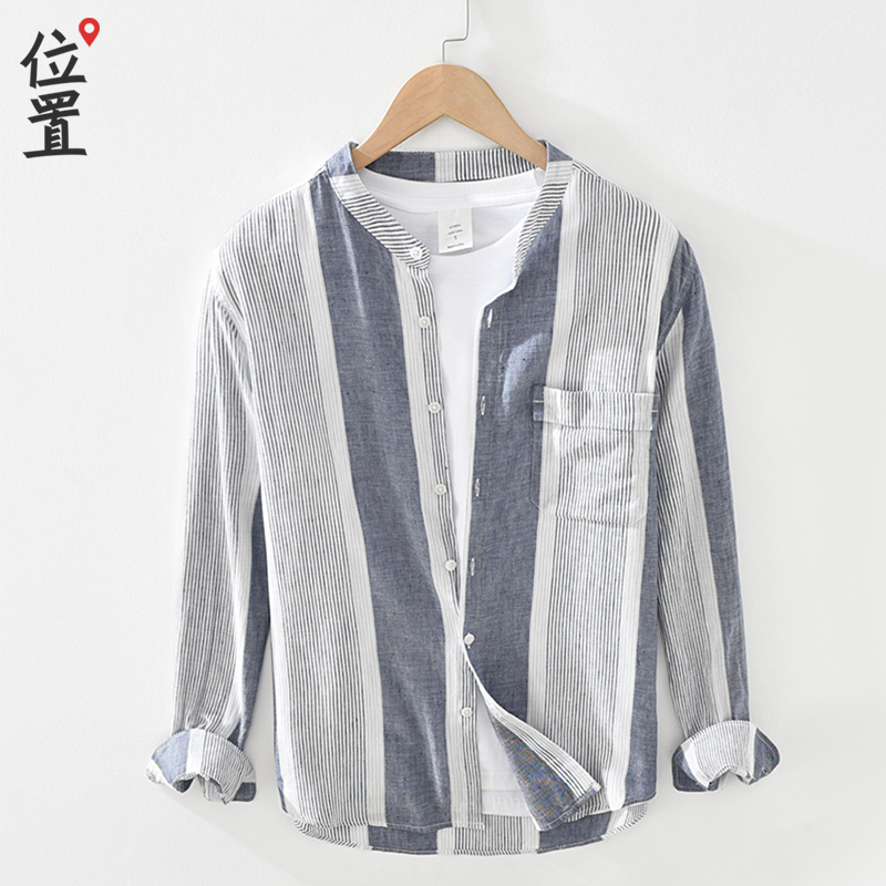 Literature and art cotton hemp Round Neck Long Sleeve Shirt Mens casual Japanese 2021 spring new youth Vertical Stripe Mens shirt