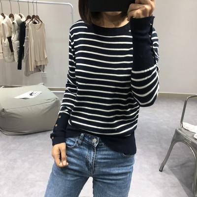 条纹针织衫女士秋季显瘦纽扣圆领长袖韩版学生减龄套头毛衣打底衫