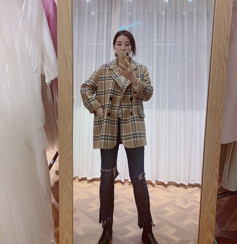 2020 new high quality double faced coat commuting loose Korean Plaid suit short cashmere coat popular for women