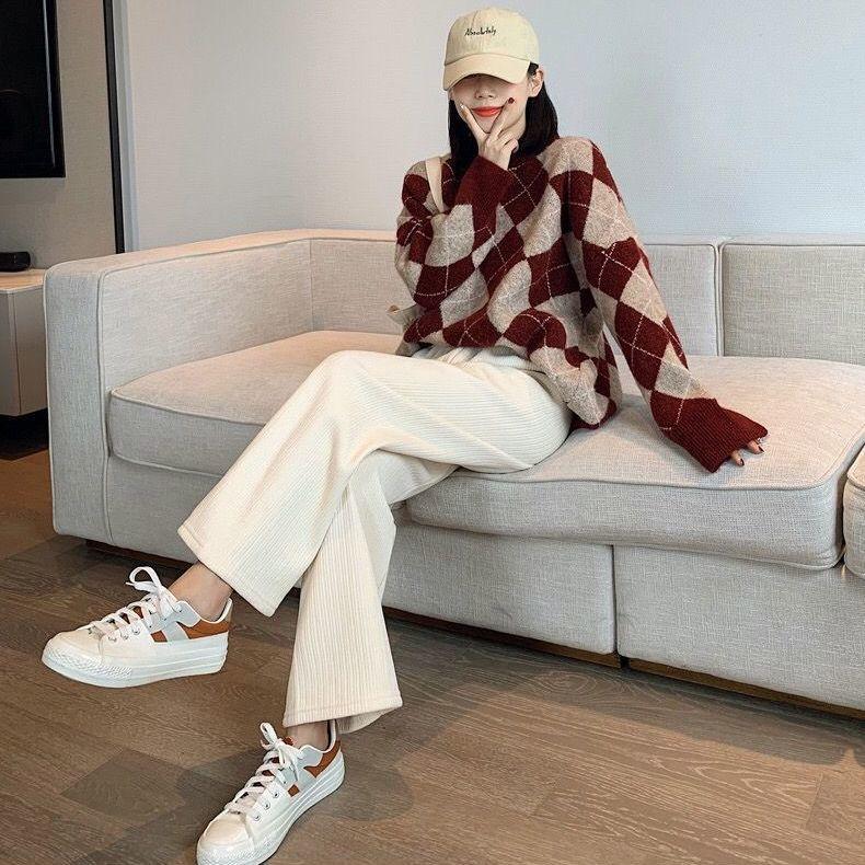 雪尼尔阔腿裤子加绒加厚冬季女学生外穿韩版宽松显瘦灯