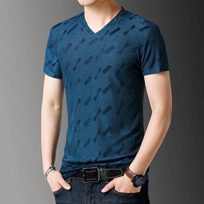 夏季短袖t恤v领真丝提花半袖衫QT6019-6753P25