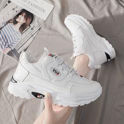 裴乐官方新款运动鞋女跑步鞋休闲鞋老爹鞋女鞋秋季白色PU皮面