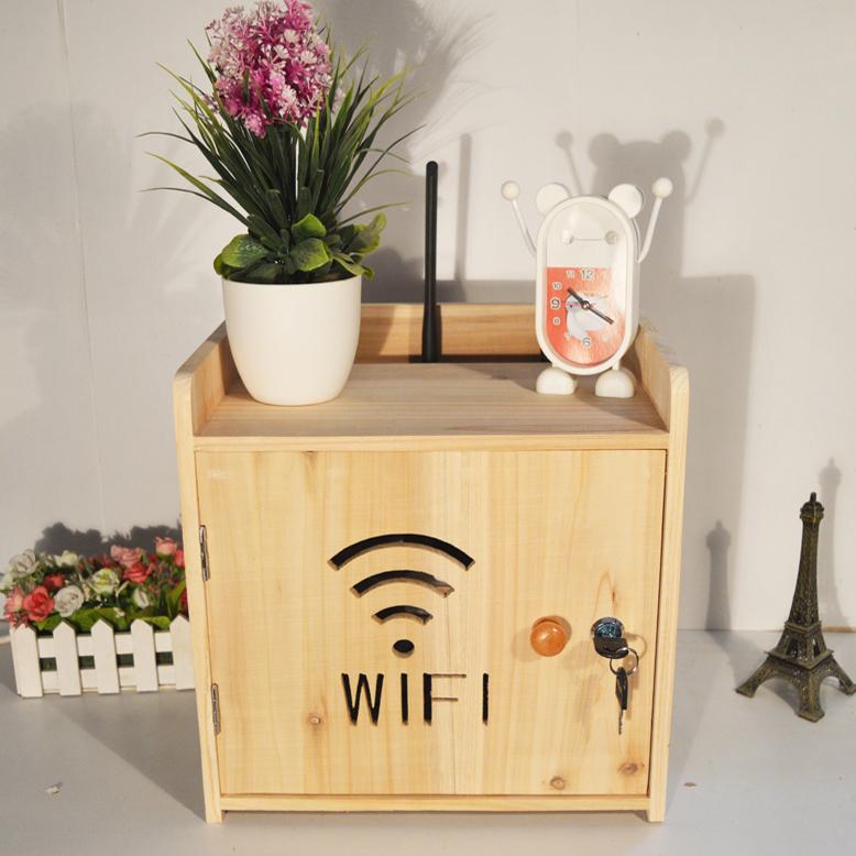 华美直销 带锁猫modem线路盒实木WIFI无线路由器整理盒挂壁收纳箱