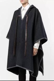 日系复古大衣男士中长款秋冬呢子斗篷披肩外套潮深灰套头披风毛呢