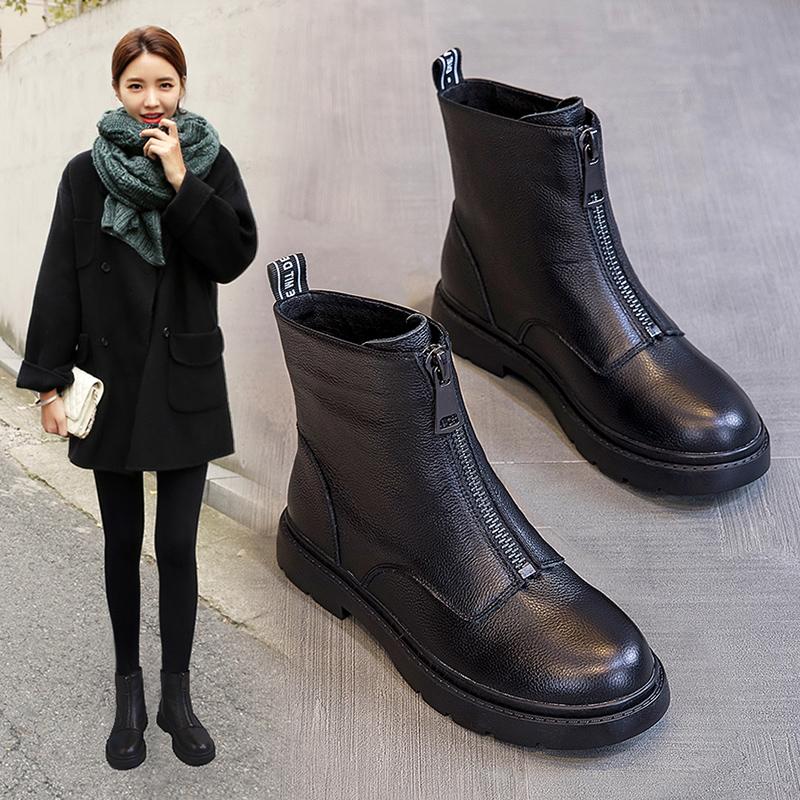 前拉链马丁靴2020新款秋冬季43女鞋