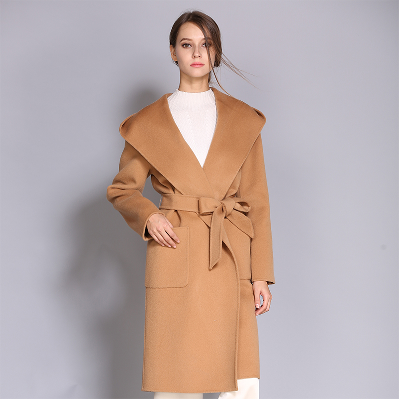 Mid length tweed coat womens 2019 new slim and thickened Korean version Lapel over knee double face cashmere coat with cap