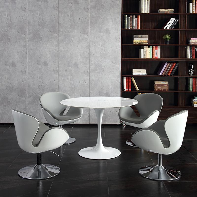 休息区洽谈桌椅组合简约现代大理石接待会客休闲售楼部岩板小圆桌