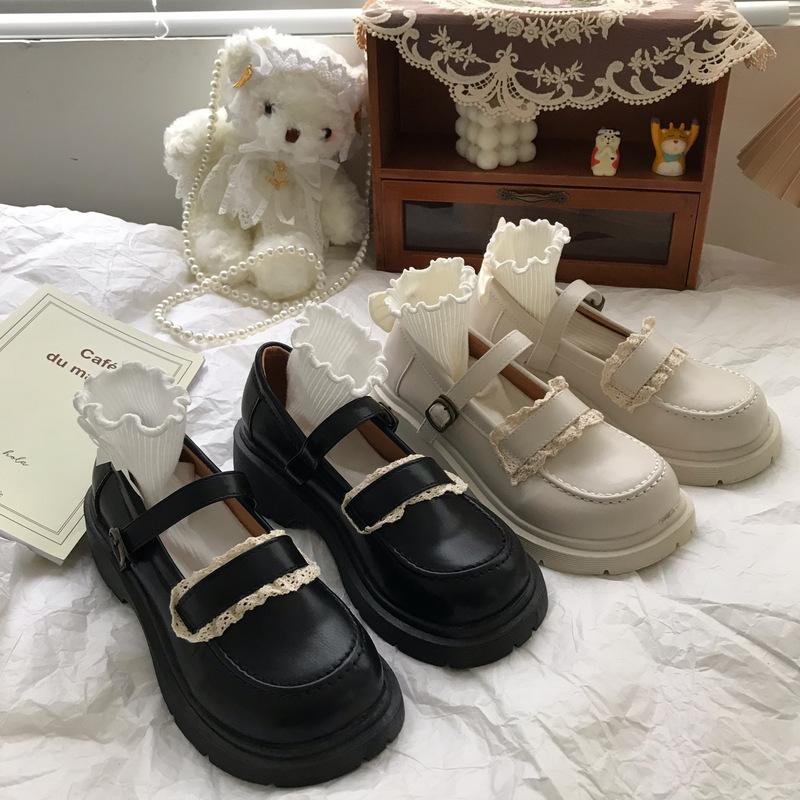 小sun家法式复古英伦风白色小皮鞋女秋冬季加绒厚底玛丽珍jk单鞋