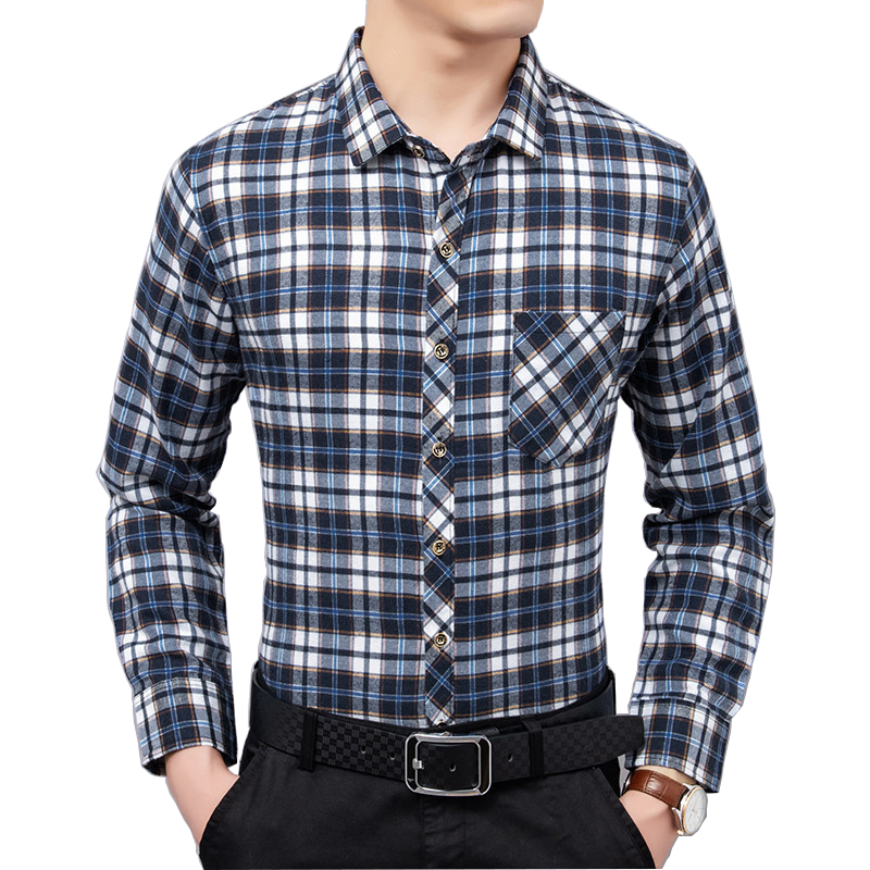 春秋款男士纯棉长袖格子衬衫