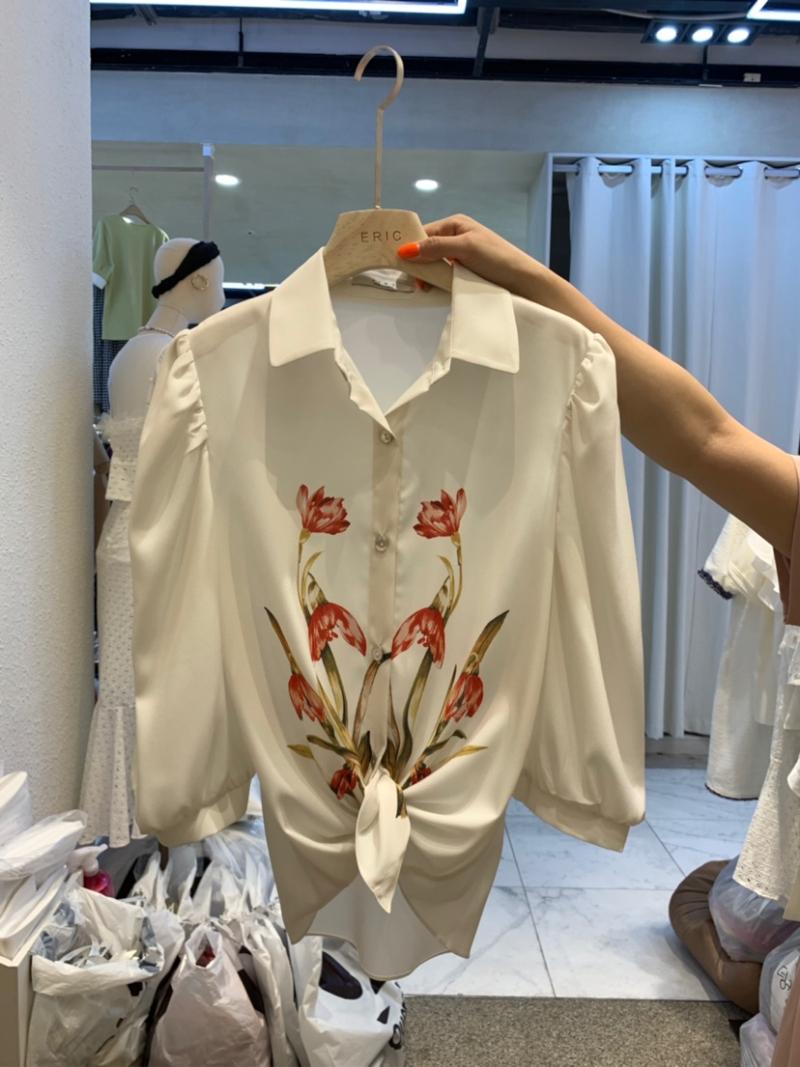 Q家 夏 韩国东大门代购女装 小女人郁金香图案七分袖衬衫