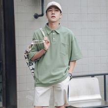 第四十九天夏季小清新纯色口袋短袖POLO衫男士宽松翻领半袖体恤衫