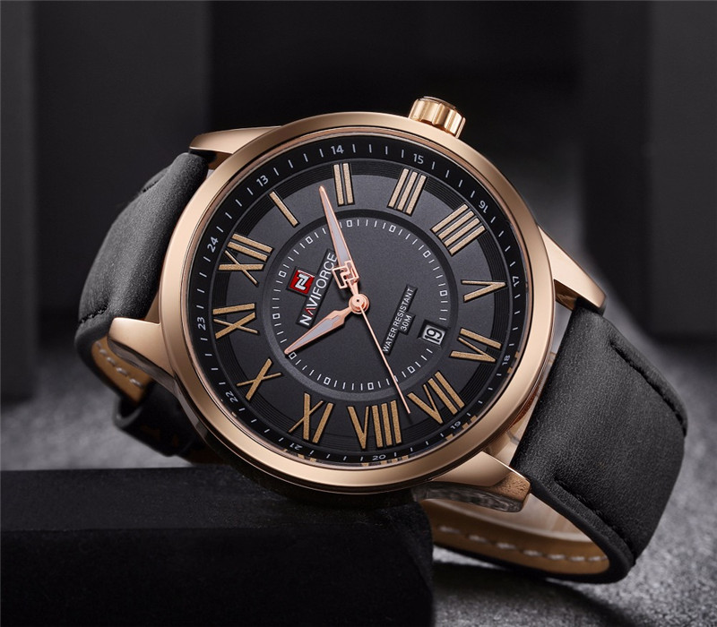Naviforce British Leather Vintage Watch fashion trendy watch mens tactical military watch commanders watch 9126
