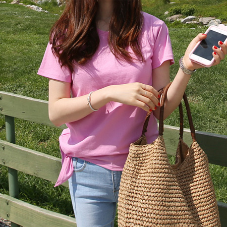 2018夏装新款韩国简约修身显瘦短袖粉色T恤女纯棉学生韩范上衣潮