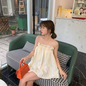 2021夏季新款时髦收腰精致吊带背心条纹肩带无袖上衣短款连衣裙女