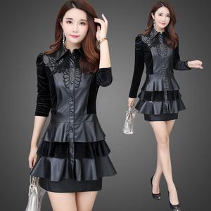 时尚气质减龄秋冬连衣裙女长袖大码金丝绒pu皮套装短裙两件套裙子