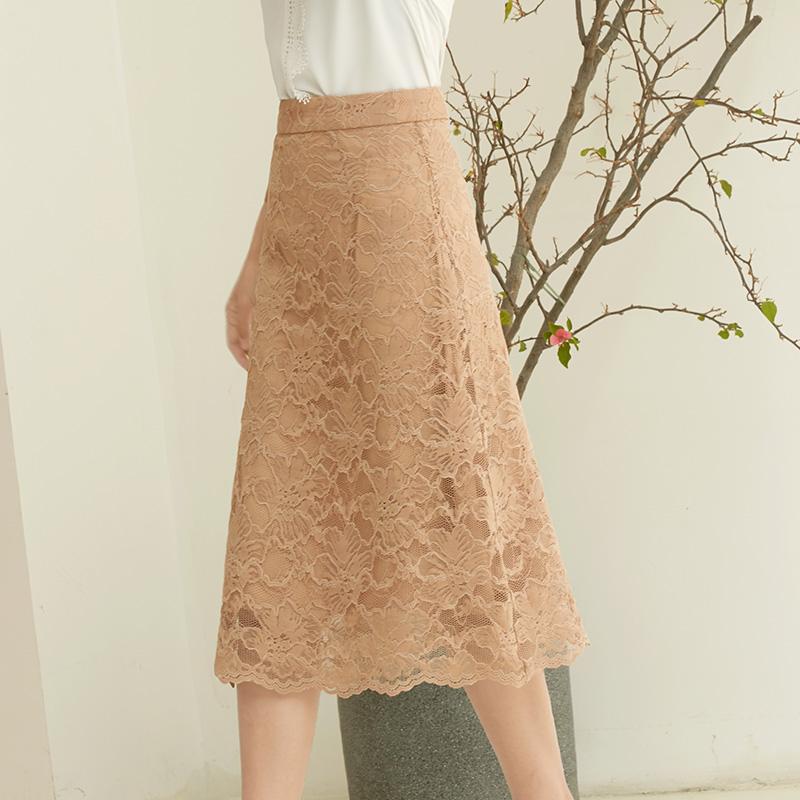 白色蕾丝2021夏季中长款a字半身裙