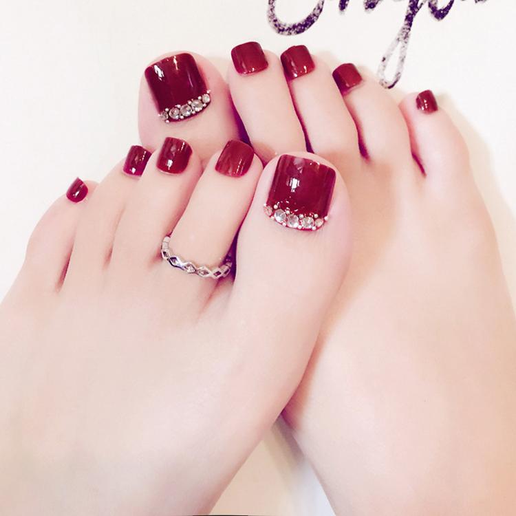 美甲工具用品 彩色成品脚趾甲贴片甲片脚指甲美甲假指甲片