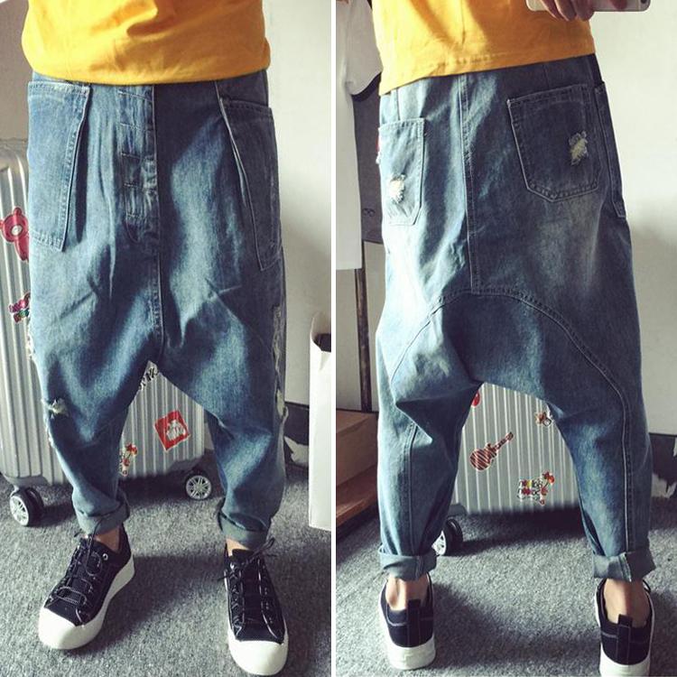 European and American style Hip Hop Pants 661 loose large size flying mouse pants mens small leg jeans Harun Pants Plus fat skateboard pants