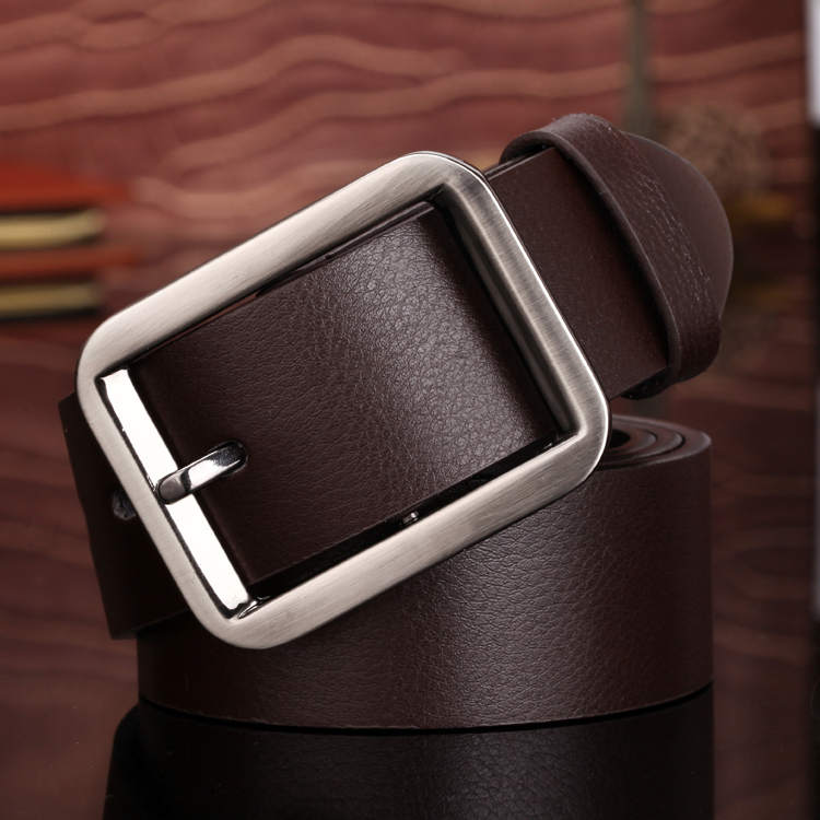Leather Mens leather belt fashion middle age belt Korean version wide simple smooth board youth leisure pin buckle leather belt