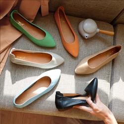 女鞋2020新款单鞋奶奶鞋女平底真皮浅口尖头复古孕妇工作鞋子夏季