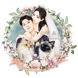 婚礼请柬 照片宠物转手绘设计 唯美头像卡通肖像个性Q版定制插画