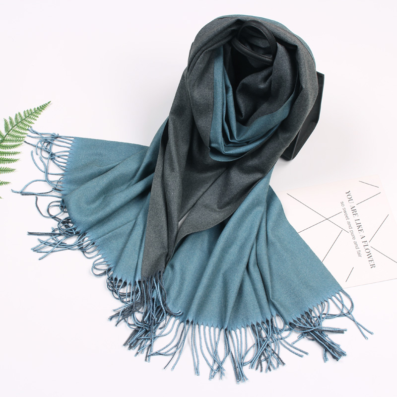 New Korean double-sided two-color solid color cashmere like scarf