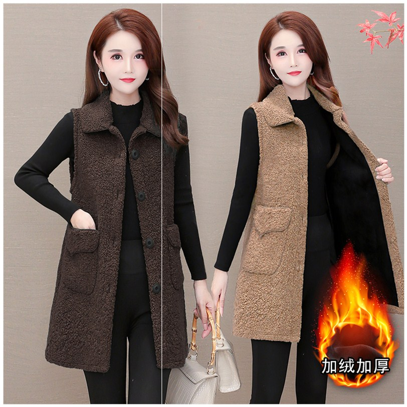 Womens autumn and winter new 2020 fur one-piece thickened warm vest jacket jacket