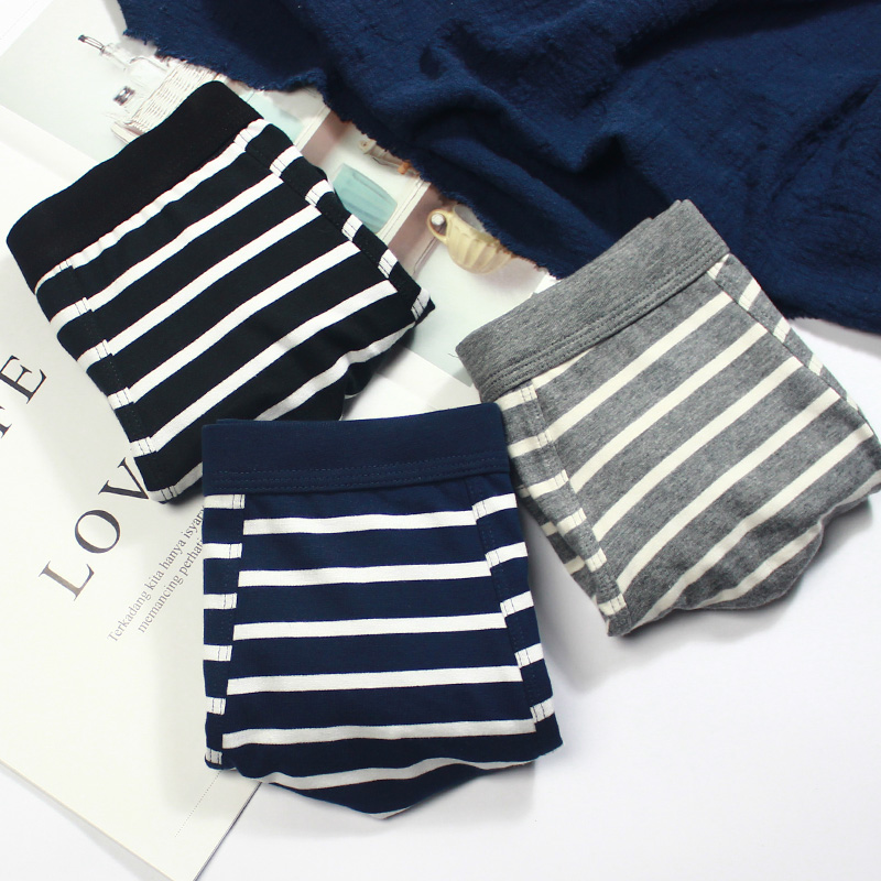 Three pack mens underwear pure cotton stripe Japanese simple comfortable breathable boxers fashionable youth cotton shorts