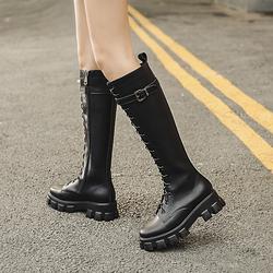 2020秋冬新款网红长筒靴马靴不过膝小个子平底百搭高筒靴骑士靴女