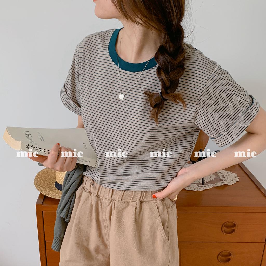 纯棉の撞色色织条纹女夏新纯色T恤。售完无补