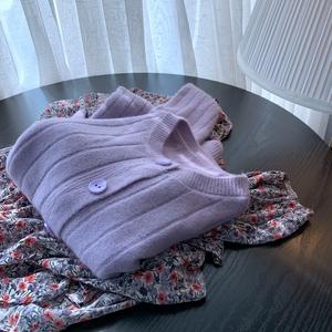 现货【云烟紫】温柔显瘦竖纹香芋紫色抽条女春新纯色针织毛衣开衫