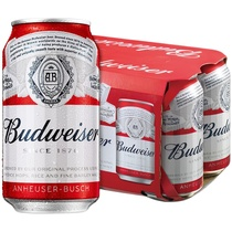 百威啤酒330mlX6听罐装黄啤小麦熟啤夏日清爽醇正啤酒