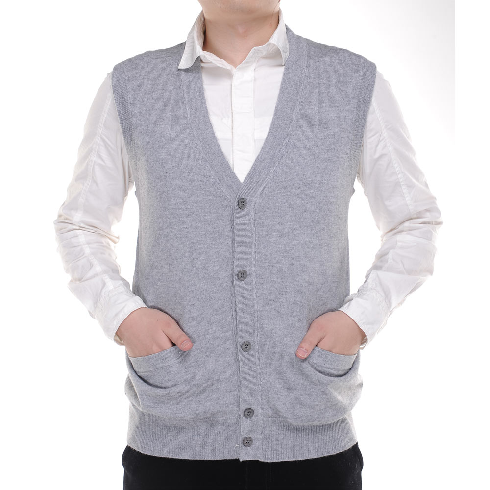 春季新款羊绒衫中老年男式开襟马甲修身羊毛背心针织大码坎肩薄款