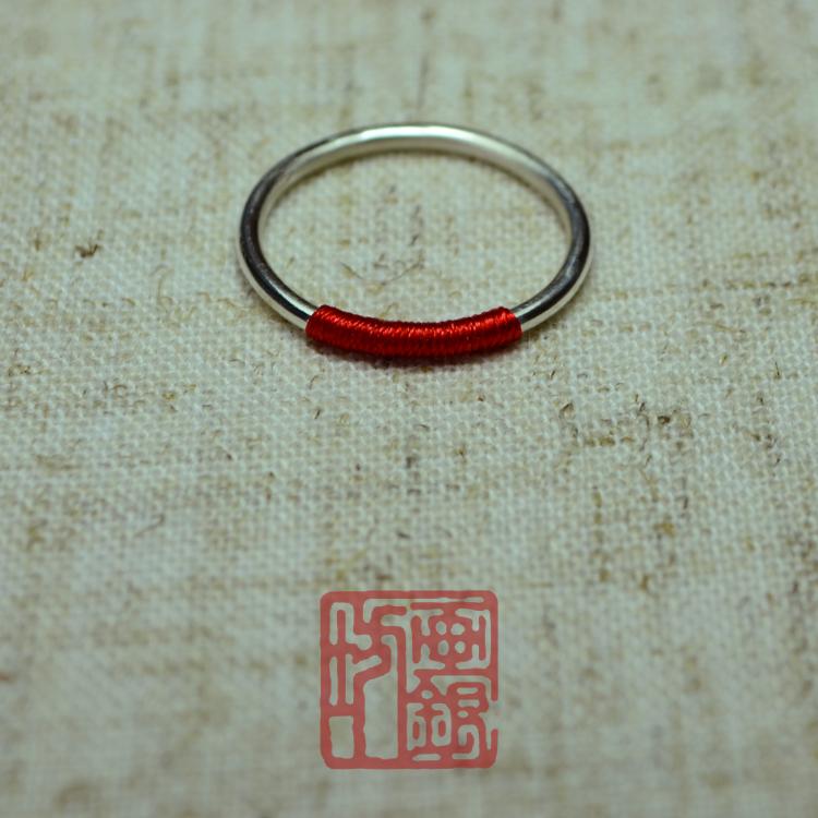 【画银坊】999足银《红霜》红线素银女指环网红戒指 闺蜜情侣戒